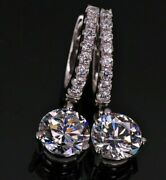 2.20ct Real Diamond Snap Closure Drop Earrings 14k White Gold For Christmas Gift