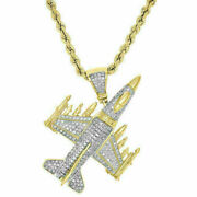 14k Yellow Gold Fighting Falcon Pendant 2ct Real Diamond For Black Friday Gift