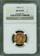 1969 S Ngc Ms66 Rd Penny Lincoln Cent Bright Cherry Red Beauty