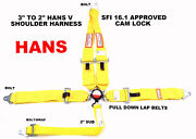 Yellow Safety Harness Hans Racing Sfi 16.1 5 Point V Roll Bar Mount 3 Cam Lock