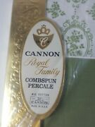 Vintage Cannon Royal Family Percale Combspun Twin Flat Sheet Green New