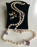 Vintage Miriam Haskell Necklace And Earrings Setbaroque Pearls/amethyst/crystals