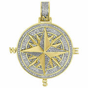 2.65ct Real Diamond Over Compass Pendant 14k Yellow Gold For Black Friday Gift
