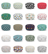 Ambesonne Christmas Ottoman Pouf Decor Soft Foot Rest And Removable Cover
