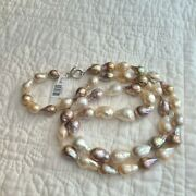Natural Ming Pearl Necklace 36 Honora 925 Silver Lobster Claw Multicolor Large