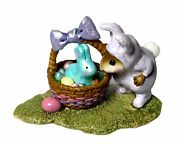 Wee Forest Folk Andldquobunny In A Basketandrdquo Purple Easter Collectible M-251