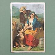 1884 Chromolithograph Trade Card Based On Faed Painting Ad For Quack Medicines