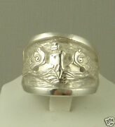 Us Navy Licensed Submarine Dolphin Regulation Ring Solid .925 Sterling Size 15