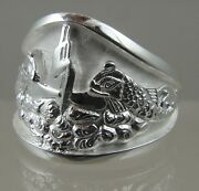 Us Navy Licensed Submarine Dolphin Guppy Mens .925 Sterling Ring Size 12.5