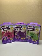 Kinetic Sand- Neon Pink Purple Green 3x 8 Oz Squeezable Sand