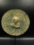 An Ancient Romanand039s Bronze Mirror Casted With Human Head Figure Top Rare