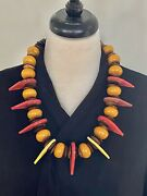 Talhakimt Red And Yellow Vintage With African Amber And Bone Beads Moroccan Necklace