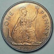 1967 Great Britain 1 One Penny Toned Choice Unc Bu Gem Color Striking Dr