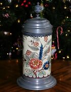 'flowers' A Classic Faience Stein, By Villeroy And Boch / Mettlach - 1 Liter