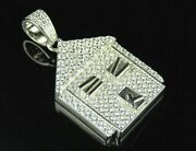 1.20ct Real Diamond Stylish Trap House Pendant 14k White Gold For Christmas Gift