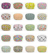 Ambesonne Spring Motif Ottoman Pouf Decor Soft Foot Rest And Removable Cover