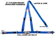 Vw Sand Rail 3 Point Seat Belt Latch And Link Buckle Floor Mount Y Harness Blue