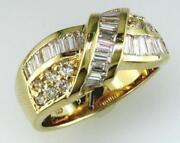 1.40ct Diamond 14kt Yellow Gold Round And Baguette Criss Cross Love Knot Fun Ring