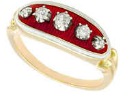 Antique Diamond And Enamel Yellow Gold Dress Ring - Size N 1/2