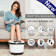 New Foot Spa Bath Massager With Heat Bubble Vibration Massage Rollers Temp Timer