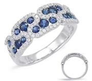 Estate Wide 1.20ct Diamond And Aaa Sapphire 14kt White Gold 3d Classic Fun Ring