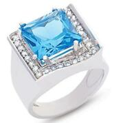 Large 6.37ct Diamond And Aaa Blue Topaz 14kt White Gold Cushion And Round Fun Ring