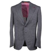 Isaia And039marechiaroand039 Gray And Pink Striped Wool-silk-linen Suit 36r Eu 46 Nwt