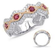 Wide .92ct Diamond And Aaa Ruby 14k White And Rose Gold 3d Infinity Anniversary Ring