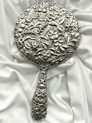 1890-96 Antique S Kirk And Son 11 Oz Coin Sterling Silver Repousse Hand Mirror Ec