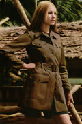 Ysl Tom Ford Safari Military Green Olive Zip-up Belted Trench Coat 36fr/xs-s