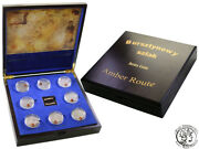 Niue 2012  8 X 1 Amber Route Serie Silver Antique Coins With Amber