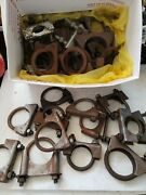 Muffler Clamps Box Lot Of 30 Used -all Work Well With Nuts-most Are Heavy Duty-