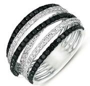 Wide 1.48ct White And Black Diamond 14kt White Gold 3d Multi Row Criss Cross Ring