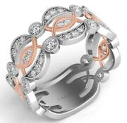 Large .68ct Diamond 14k White And Rose Gold Semi Infinity 3/4th Eternity Love Ring