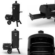 Signature Heavy-duty Vertical Offset Charcoal Smoker And Grill In Black