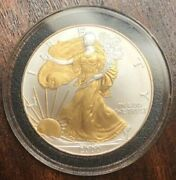 2000 American Silver Eagle 1oz Silver Coin With 24k Gold Gilded, Proof Like