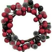 4 Berry Wreath Ornaments - Candle Rings Holly Berries Frosted Berries