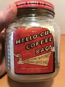 Vintage Mello Cup Coffee Bags Glass Jar W/ Lid Seattle, Wa Not Spice Tin