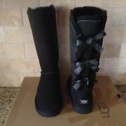Ugg Bailey Bow Triplet Triple Tall Boots Black Suede Size Us 5 Youth / Womens 7