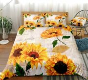 Vintage Sunflowers Bedding Letters Sunflowers Duvet Cover Set Letters And Sunflo