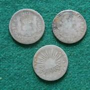 1765 1808 And 1852 Mexico Silver 3 Coins 1 Real Pillars Bust Caps And Rays Mo