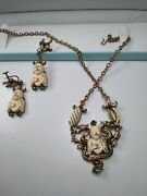 Antique Chinese Carved Stone Dragon And Monk With Seed Pearl Necklace Set