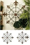 42 In. French-inspired Bronze-finished Iron Fleur De Lis And Scrollwork Wall Dec