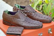 Crocodile Original Handmade Leather Shoes Men Brown Crocodile Shoe Free Wallet