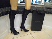 Authentic Sexy Black Knee High Leather 4 Stiletto Heel Boots Size 7.5m