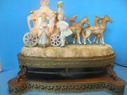 Vintage Capodimonte Style Large Victorian Porcelain And Brass Table-mantel Lamp