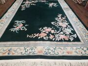 8and039 X 11and039 Vintage Handmade Chinese Carving Sculpture Wool Rug Flowers Green Nice