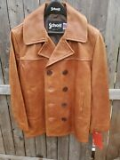 Schott Nyc Antique Leather P- Coat Newwtags Made In Usa Medium Rare Dead Stock