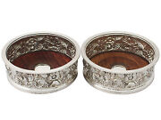 Pair Of Electroplated And Sterling Silver Bottle Coasters - Vintage