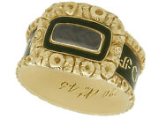 Antique Black Enamel And 14carat Yellow Gold Mourning Ring Size 0 1/2